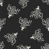 Doodle Robot seamless pattern background — Stock Vector