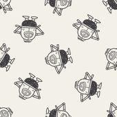 Doodle Robot seamless pattern background — Cтоковый вектор