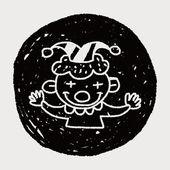 Doodle clown — Stock Vector