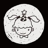 Doodle birthday girl — Stock Vector