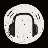 Doodle Headphone — Stockvektor