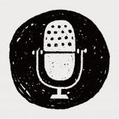 Doodle Microphone — 图库矢量图片