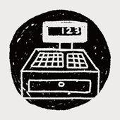Doodle Checkout Machine — Vector de stock