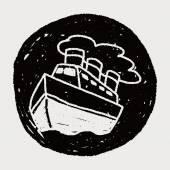 Doodle Steamship — Stock Vector
