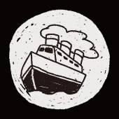 Doodle Steamship — Stok Vektör
