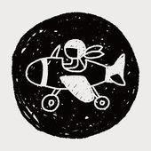 Doodle-Flugzeug — Stockvektor