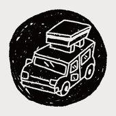 Doodle seyahat araba — Stok Vektör