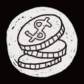 Doodle Coin — Stock Vector