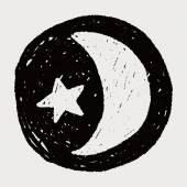 Måne och stjärna doodle ritning — Stockvektor