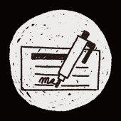Money check doodle drawing — Vetor de Stock