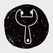 Wrench doodle drawing — 图库矢量图片