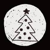 Christmas tree doodle drawing — Stockvector