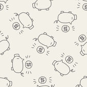 Doodle pig money bank — Stock Vector