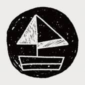 Doodle sailboat — Stock Vector