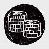Doodle money coin — Stock Vector