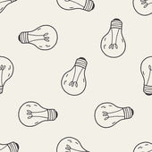 Doodle Light bulb seamless pattern background — Vector de stock
