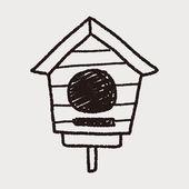 Doodle bird house — Stock Vector