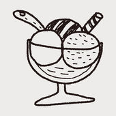 Ice cream doodle drawing — Stok Vektör