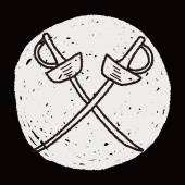 Fencing doodle — Stock Vector