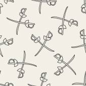 Fencing doodle seamless pattern background — Stock Vector