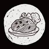 Doodle pasta noodle — Stock Vector