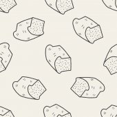 Toast doodle drawing seamless pattern background — Stockvektor