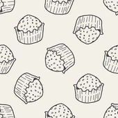 Doodle cake seamless pattern background — Stock Vector