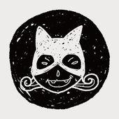 Cat woman doodle — Stock Vector