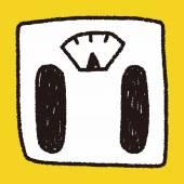 Weighting machine doodle drawing — Stock Vector