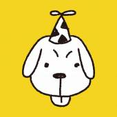 Doodle birthday dog — Vettoriale Stock