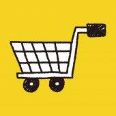 Shopping cart doodle drawing — Stock Vector