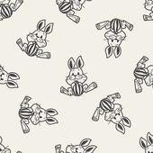 Easter bunny doodle seamless pattern background — Stockvektor