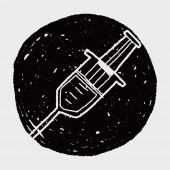 Syringes doodle drawing — Vector de stock
