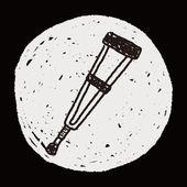 Doodle Crutch — Stock Vector