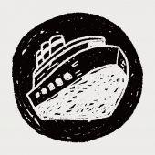 Doodle barco — Vector de stock