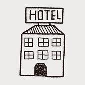 Hotel doodle ritning — Stockvektor