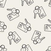 Doodle Key seamless pattern background — Vecteur