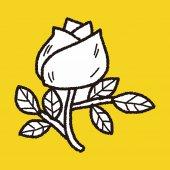 バラの花を落書き — ストックベクタ