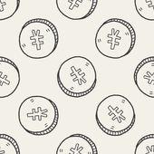 Doodle Renminbi money coin — Stock Vector