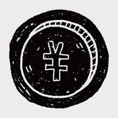 Doodle renminbi pieniądze monety — Wektor stockowy