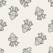 Robot doodle seamless pattern background — Stock vektor
