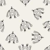 Robot doodle seamless pattern background — Stock Vector