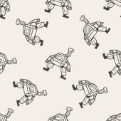 Robô doodle sem costura de fundo — Vetor de Stock