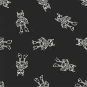 Robot doodle seamless pattern background — Stok Vektör