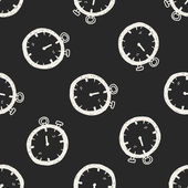 Time doodle seamless pattern background — Stock Vector