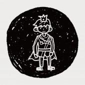 Prins doodle — Stockvector