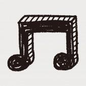 Muzyka notatka doodle rysunku — Wektor stockowy