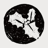 Poinsettia doodle — Vector de stock