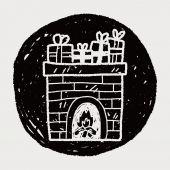 暖炉の落書き — ストックベクタ