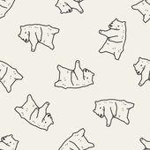 Polar bear doodle seamless pattern background — Stock Vector